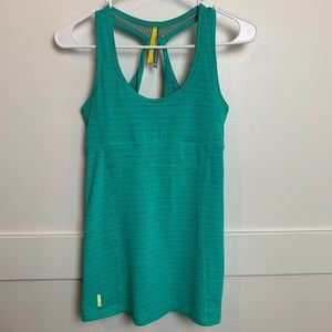 Lole Teal Striped Active Tank Top With Shelf Bra